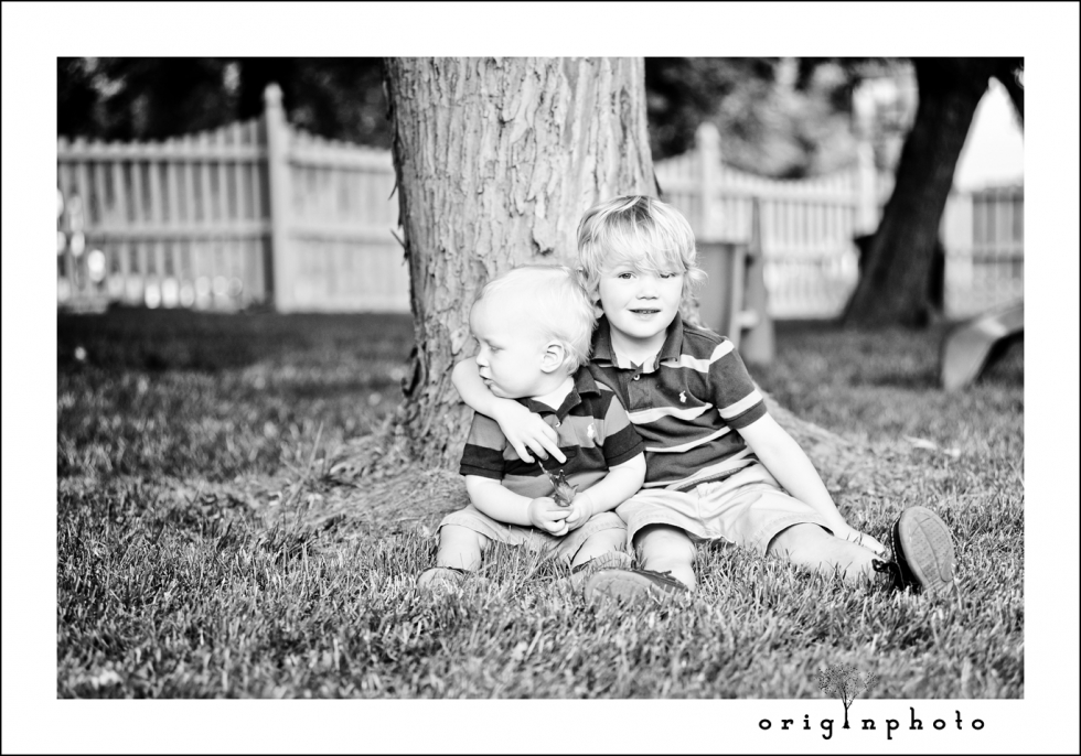 brothers in a garden